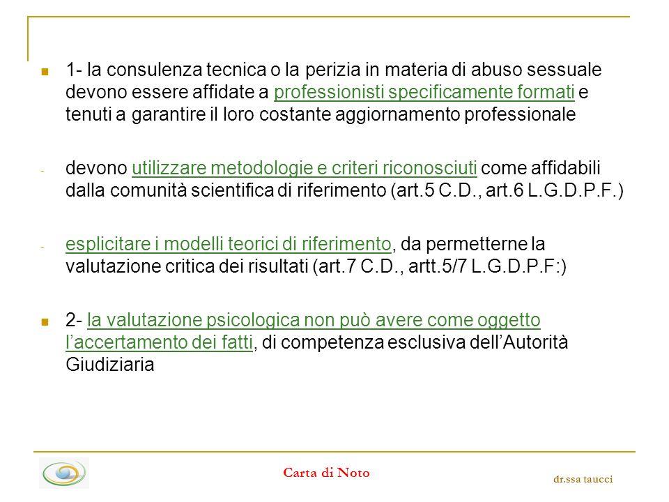1- la consulenza tecnica o la perizia in materia di abuso sessuale devono essere affidate a professionisti specificamente formati e tenuti a garantire il loro costante aggiornamento professionale - devono utilizzare metodologie e criteri riconosciuti come affidabili dalla comunità scientifica di riferimento (art.5 C.D., art.6 L.G.D.P.F.) - esplicitare i modelli teorici di riferimento, da permetterne la valutazione critica dei risultati (art.7 C.D., artt.5/7 L.G.D.P.F:) 2- la valutazione psicologica non può avere come oggetto laccertamento dei fatti, di competenza esclusiva dellAutorità Giudiziaria dr.ssa taucci Carta di Noto