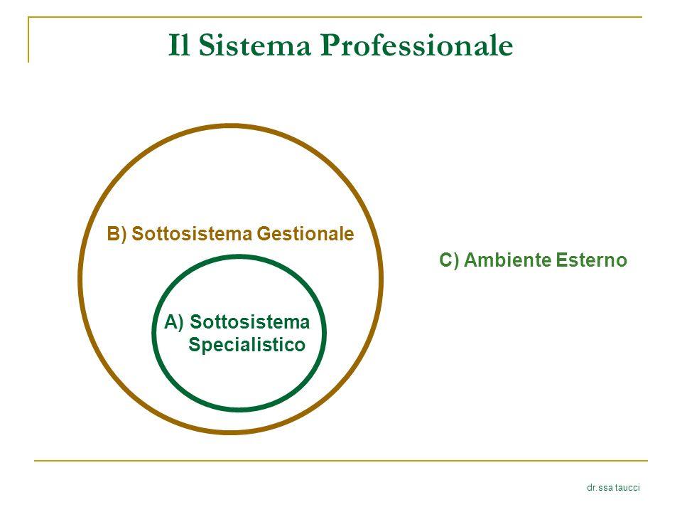 Il Sistema Professionale dr.ssa taucci B) Sottosistema Gestionale A)Sottosistema Specialistico C) Ambiente Esterno