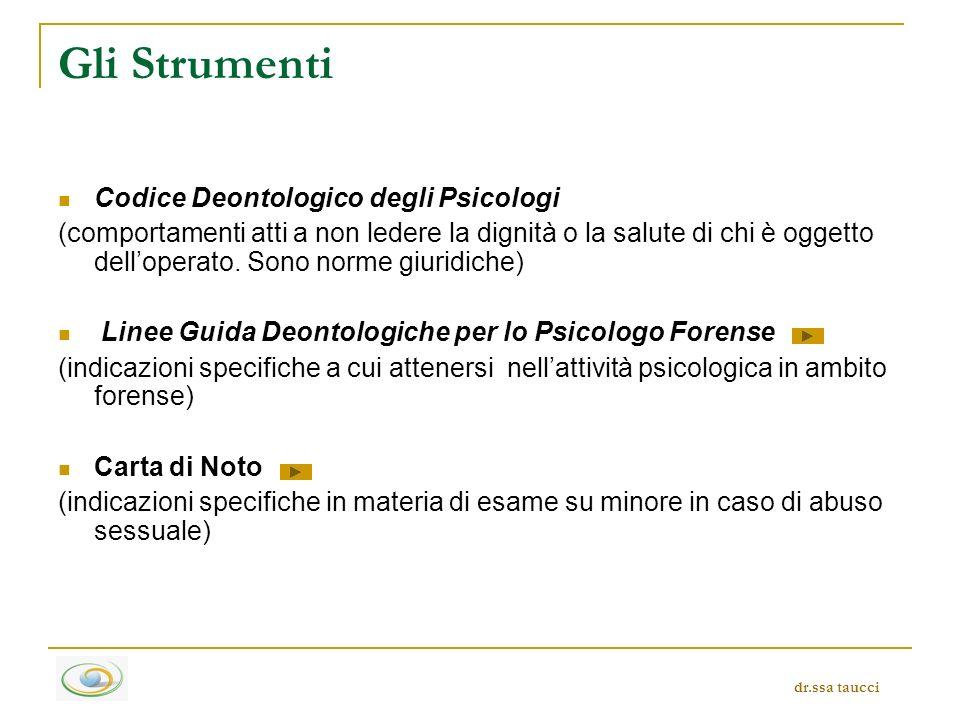 Linee Guida Deontologiche per lo Psicologo Forense Non sono sostitutive del Codice Deontologico degli Psicologi Italiani, sono linee guida a cui attenersi nellattività psicologica in ambito forense Approvate in Roma il 17 gennaio 1999 dr.ssa taucci
