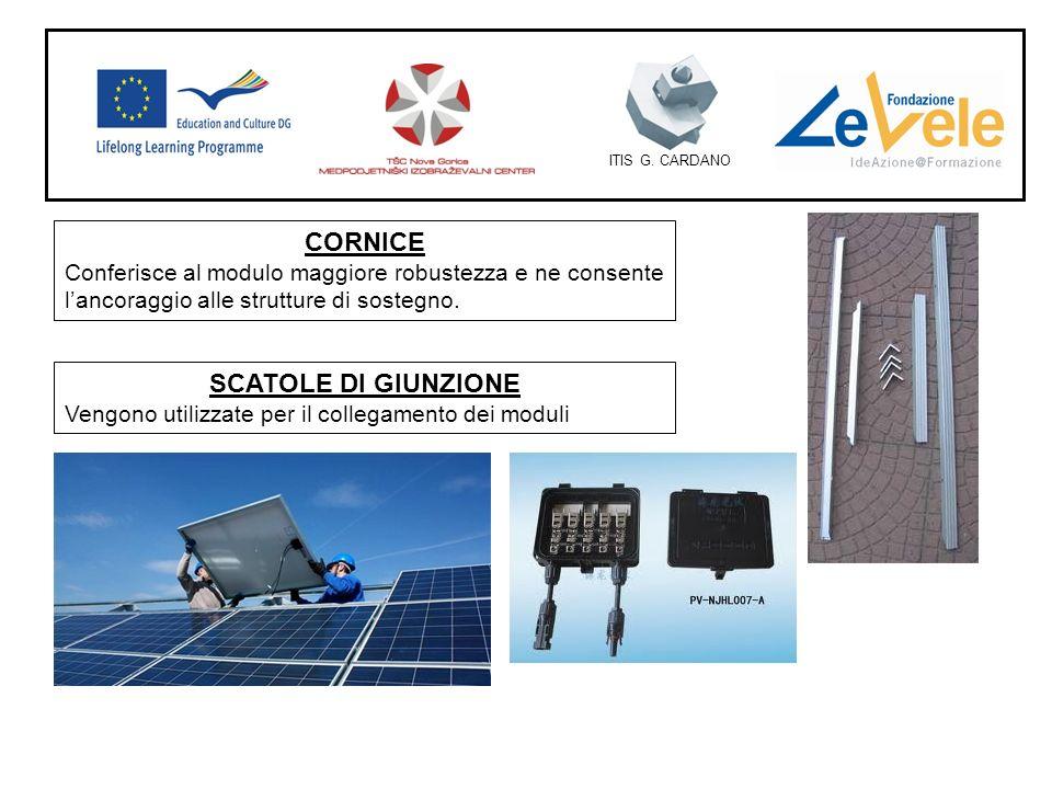 ITIS G. CARDANO CORNICE Conferisce al modulo maggiore robustezza e ne consente lancoraggio alle strutture di sostegno. SCATOLE DI GIUNZIONE Vengono ut