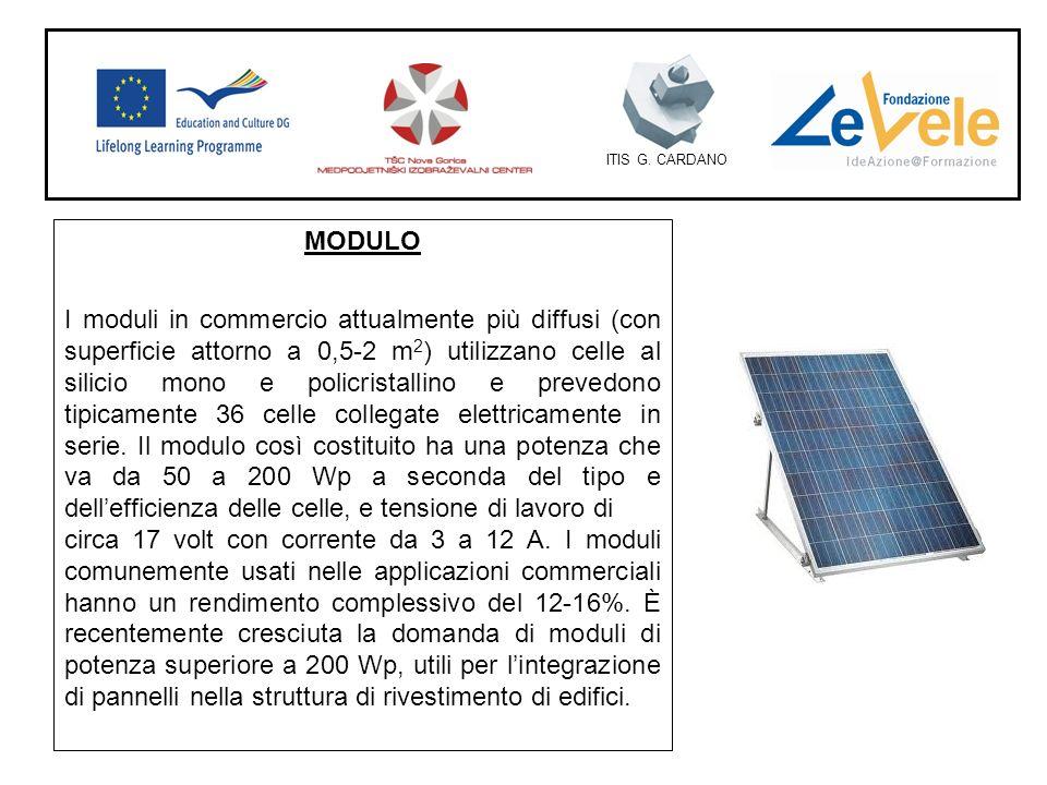 ITIS G. CARDANO MODULO I moduli in commercio attualmente più diffusi (con superficie attorno a 0,5-2 m 2 ) utilizzano celle al silicio mono e policris
