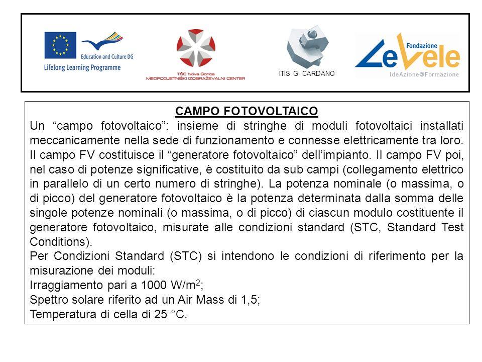 ITIS G. CARDANO CAMPO FOTOVOLTAICO Un campo fotovoltaico: insieme di stringhe di moduli fotovoltaici installati meccanicamente nella sede di funzionam