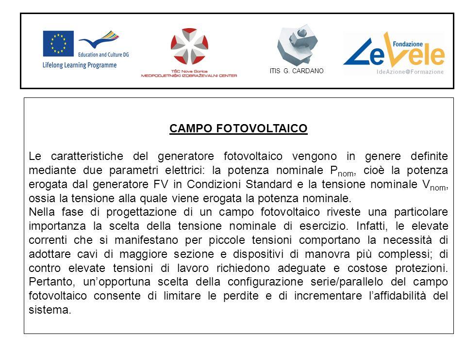 ITIS G. CARDANO CAMPO FOTOVOLTAICO Le caratteristiche del generatore fotovoltaico vengono in genere definite mediante due parametri elettrici: la pote