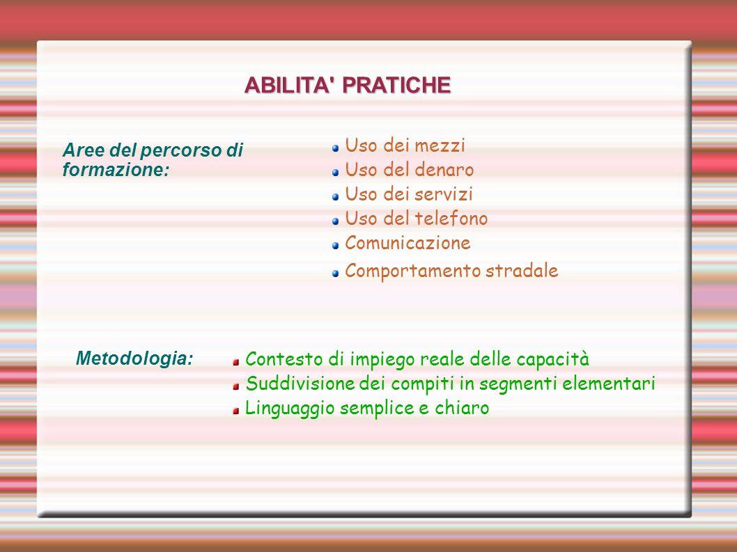 ABILITA' PRATICHE Aree del percorso di formazione: Uso dei mezzi Uso del denaro Uso dei servizi Uso del telefono Comunicazione Comportamento stradale