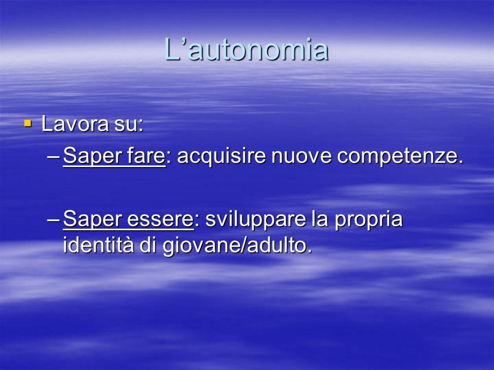 Lautonomia Lavora su: Lavora su: –Saper fare: acquisire nuove competenze. –Saper essere: sviluppare la propria identità di giovane/adulto.