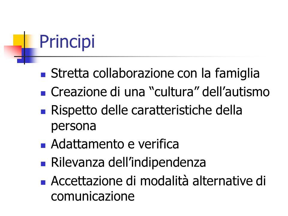 Principi Stretta collaborazione con la famiglia Creazione di una cultura dellautismo Rispetto delle caratteristiche della persona Adattamento e verifi