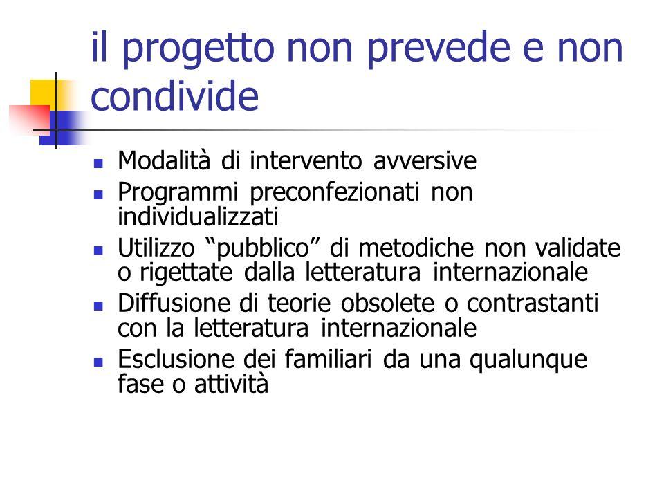 il progetto non prevede e non condivide Modalità di intervento avversive Programmi preconfezionati non individualizzati Utilizzo pubblico di metodiche