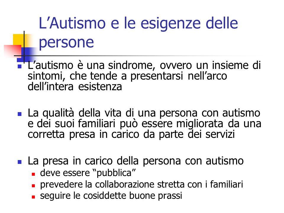 LAutismo e le esigenze delle persone Lautismo è una sindrome, ovvero un insieme di sintomi, che tende a presentarsi nellarco dellintera esistenza La q