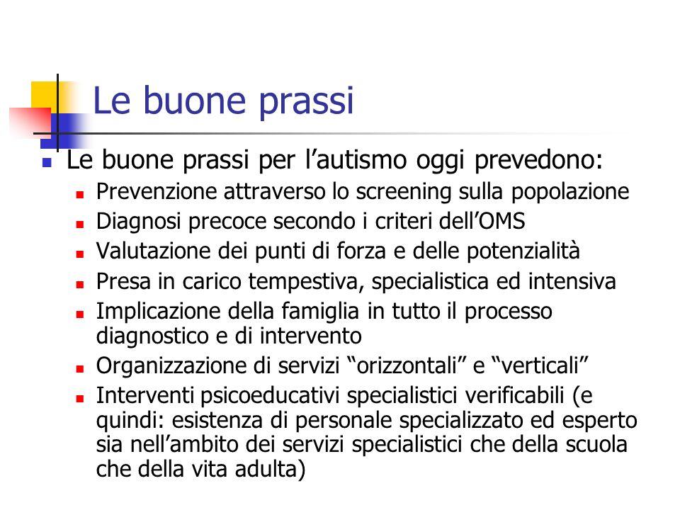 Le buone prassi Le buone prassi per lautismo oggi prevedono: Prevenzione attraverso lo screening sulla popolazione Diagnosi precoce secondo i criteri