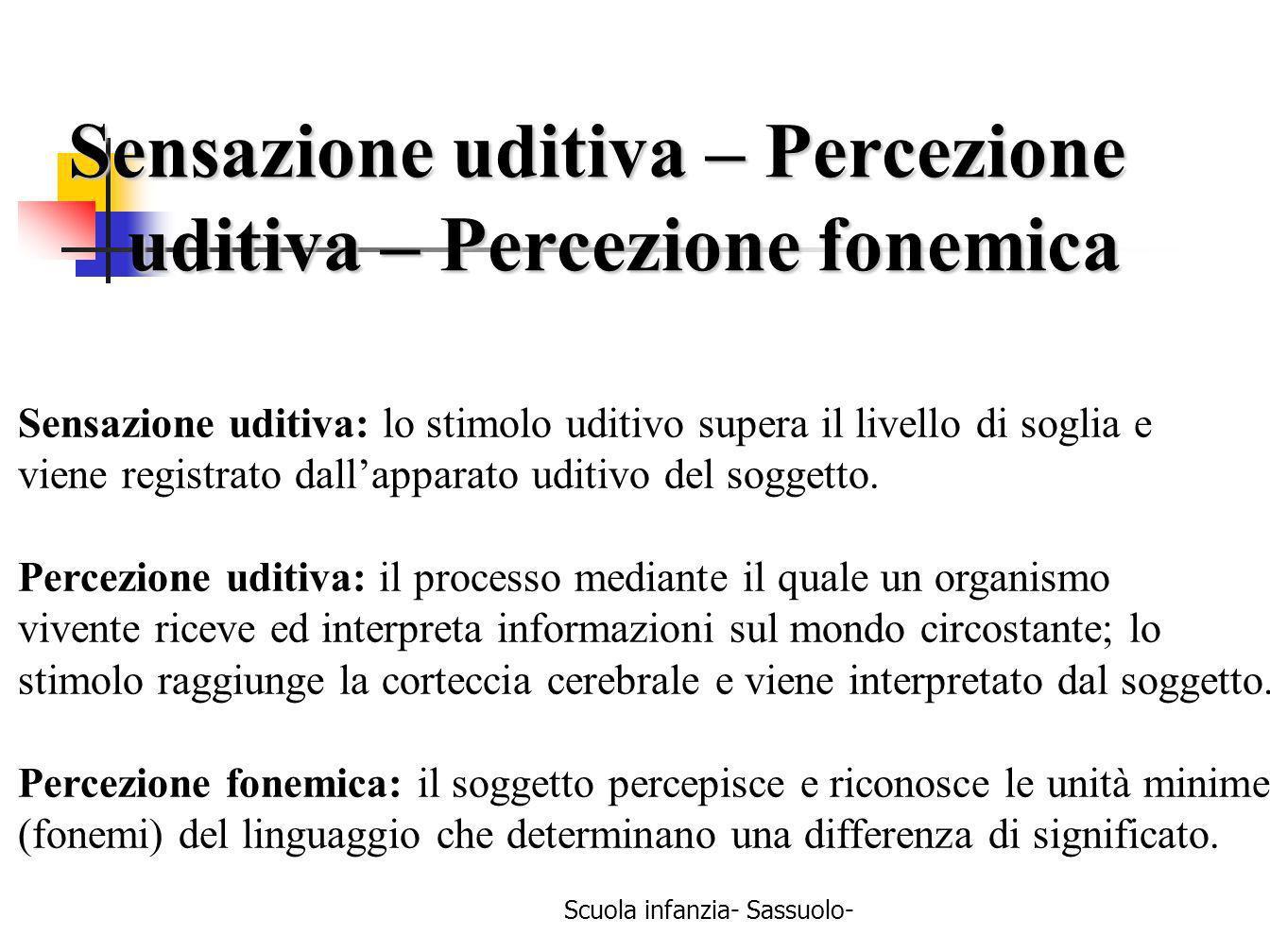 Scuola infanzia- Sassuolo- Sensazione uditiva – Percezione uditiva – Percezione fonemica uditiva – Percezione fonemica Sensazione uditiva: lo stimolo