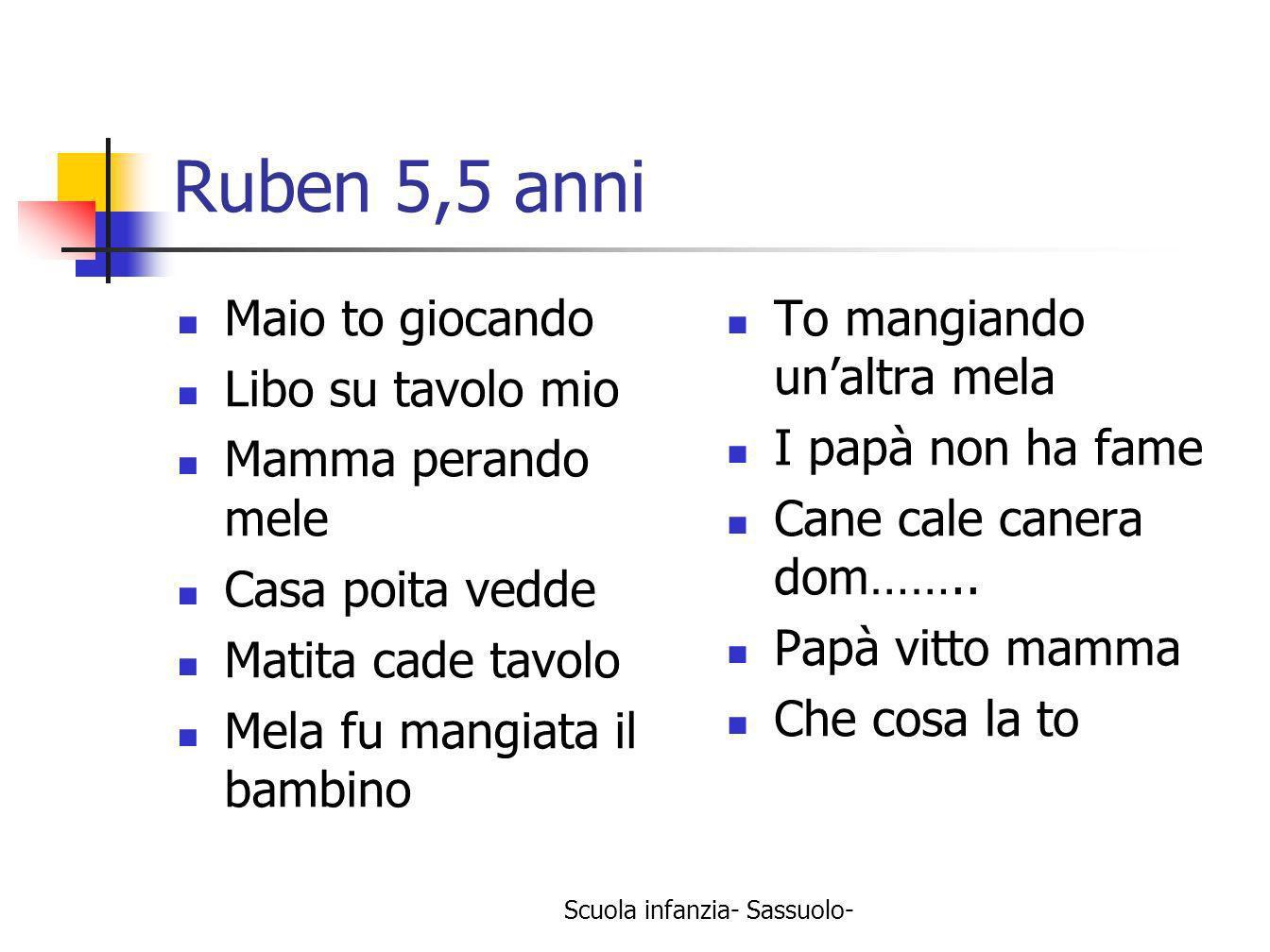 Scuola infanzia- Sassuolo- Ruben 5,5 anni Maio to giocando Libo su tavolo mio Mamma perando mele Casa poita vedde Matita cade tavolo Mela fu mangiata