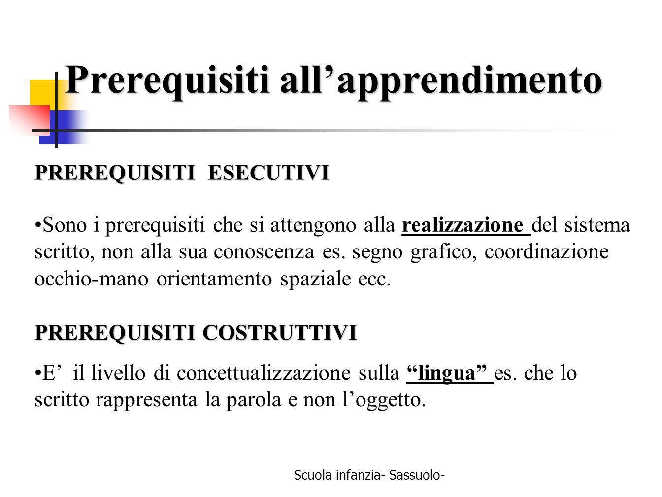 PREREQUISITI ESECUTIVI Sono i prerequisiti che si attengono alla realizzazione del sistema scritto, non alla sua conoscenza es. segno grafico, coordin