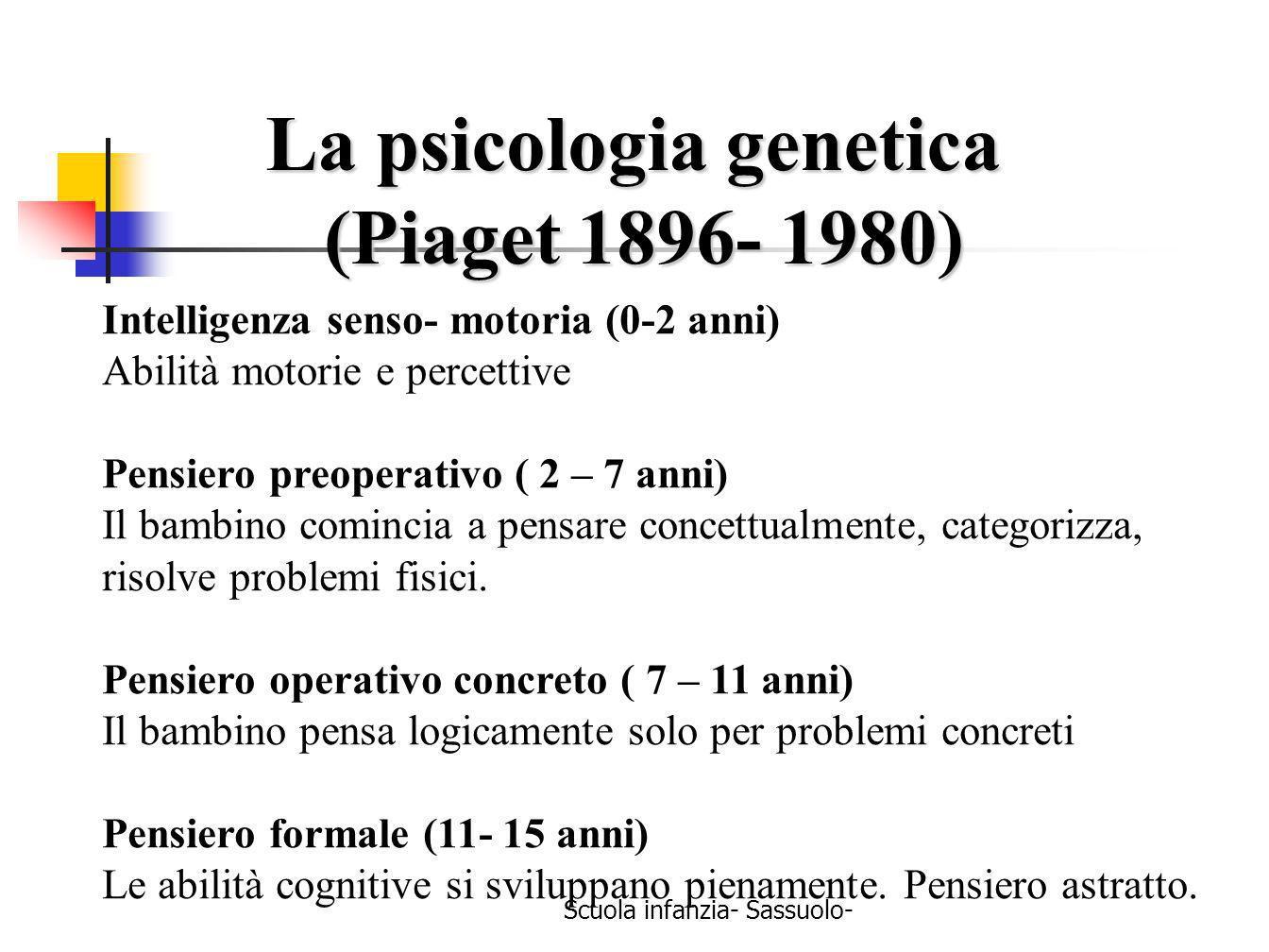 Scuola infanzia- Sassuolo- La psicologia genetica (Piaget 1896- 1980) (Piaget 1896- 1980) Intelligenza senso- motoria (0-2 anni) Abilità motorie e per