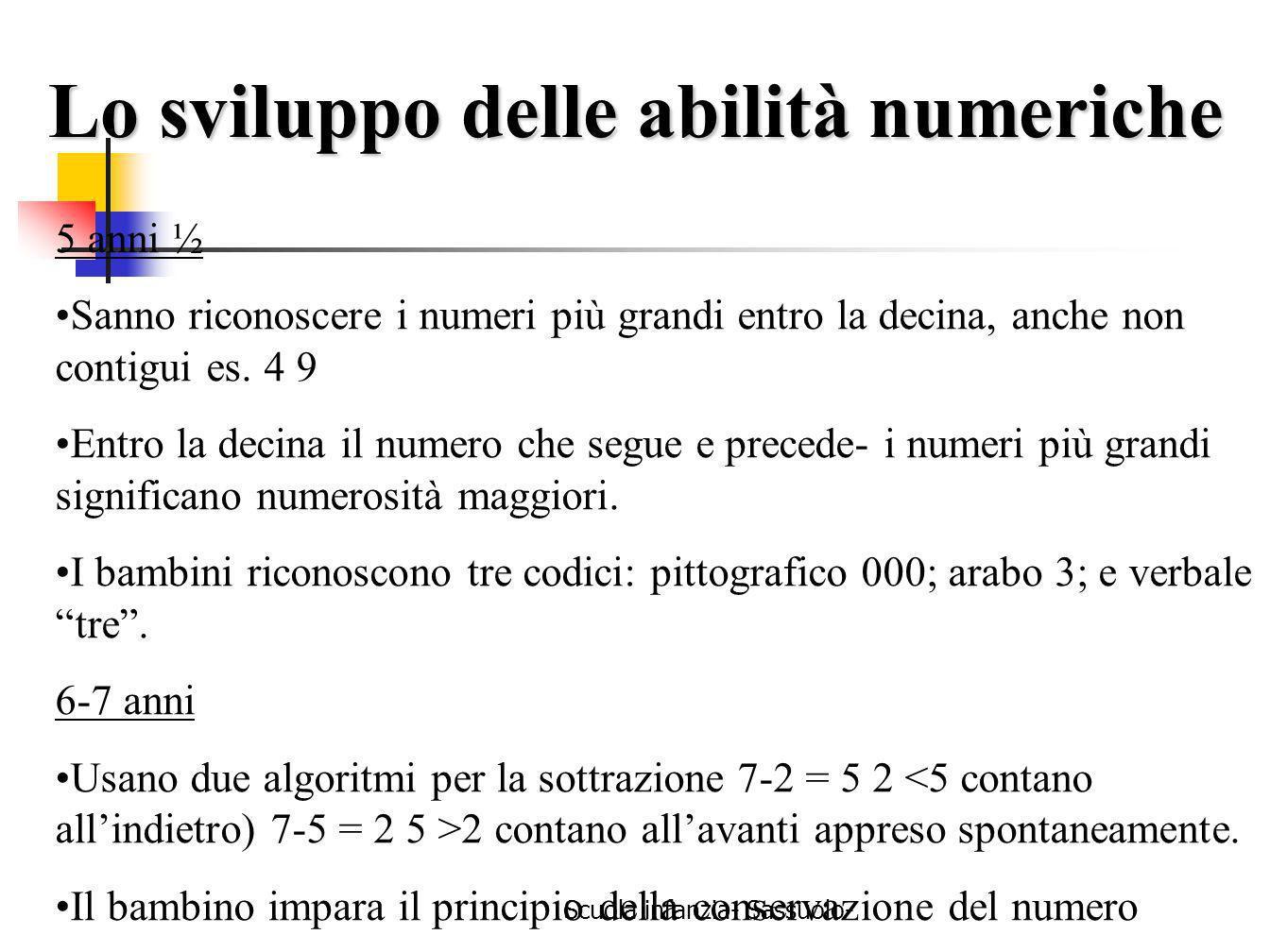 Scuola infanzia- Sassuolo- 5 anni ½ Sanno riconoscere i numeri più grandi entro la decina, anche non contigui es. 4 9 Entro la decina il numero che se