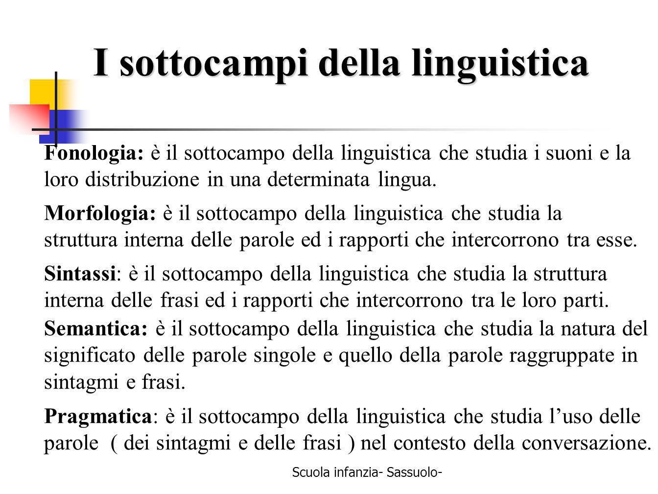 Scuola infanzia- Sassuolo- I sottocampi della linguistica Fonologia: è il sottocampo della linguistica che studia i suoni e la loro distribuzione in u