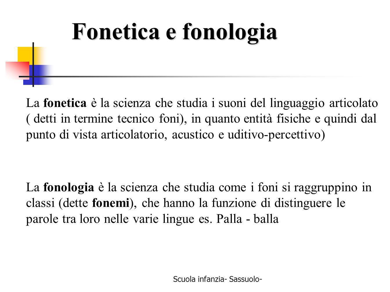 Scuola infanzia- Sassuolo- Fonetica e fonologia La fonetica è la scienza che studia i suoni del linguaggio articolato ( detti in termine tecnico foni)