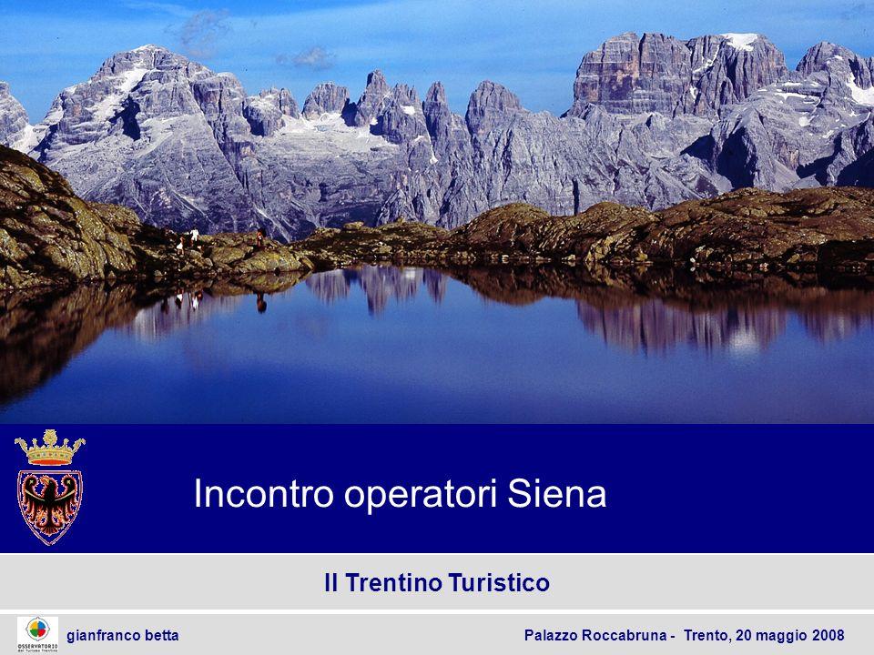 2 gianfranco betta Palazzo Roccabruna - Trento, 20 maggio 2008 Sommario temi trattati Linee Guida per il Turismo trentino Il Trentino turistico.