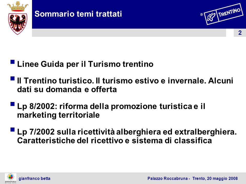 3 gianfranco betta Palazzo Roccabruna - Trento, 20 maggio 2008 Linee guida per la politica turistica provinciale 1.