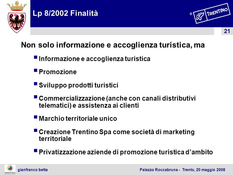 21 gianfranco betta Palazzo Roccabruna - Trento, 20 maggio 2008 Lp 8/2002 Finalità Non solo informazione e accoglienza turistica, ma Informazione e ac