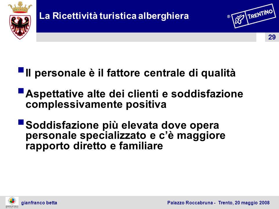 29 gianfranco betta Palazzo Roccabruna - Trento, 20 maggio 2008 La Ricettività turistica alberghiera Il personale è il fattore centrale di qualità Asp