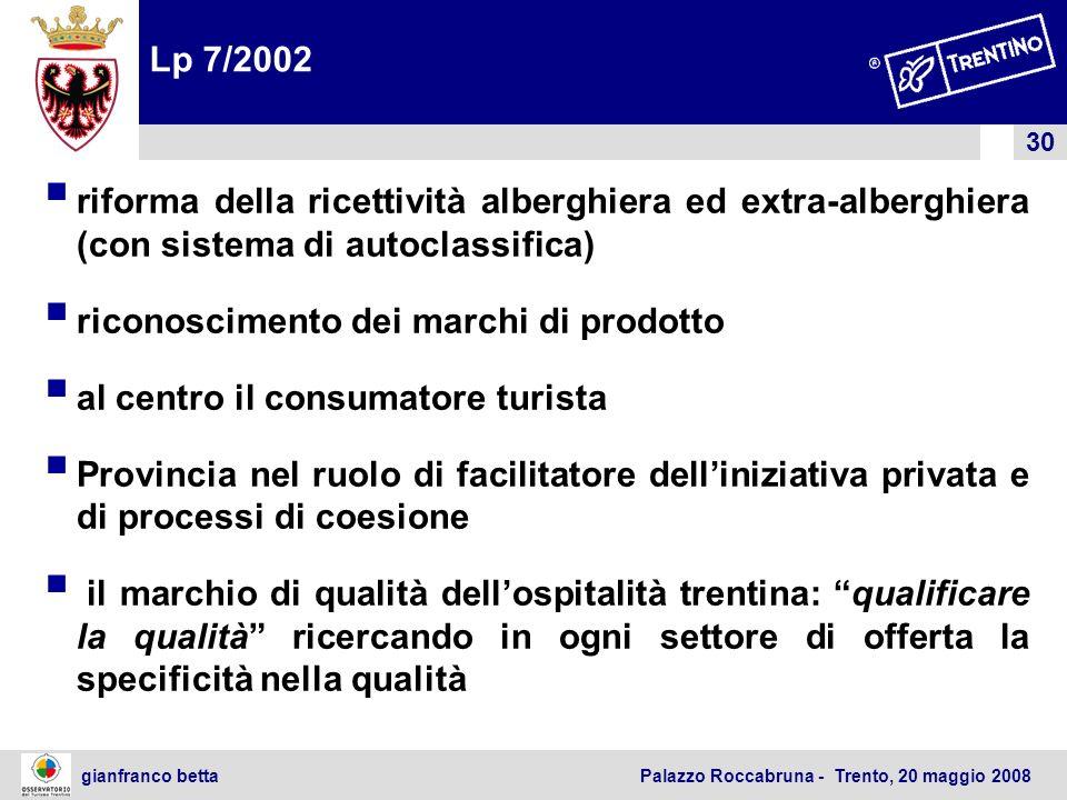 30 gianfranco betta Palazzo Roccabruna - Trento, 20 maggio 2008 Lp 7/2002 riforma della ricettività alberghiera ed extra-alberghiera (con sistema di a