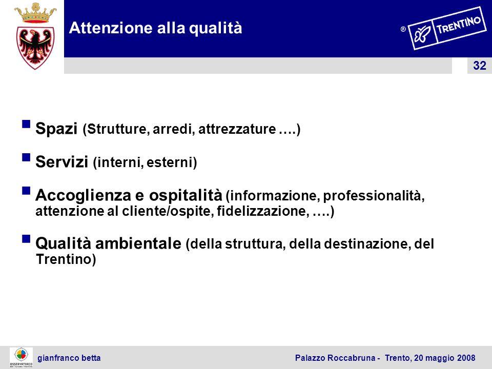 32 gianfranco betta Palazzo Roccabruna - Trento, 20 maggio 2008 Attenzione alla qualità Spazi (Strutture, arredi, attrezzature ….) Servizi (interni, e