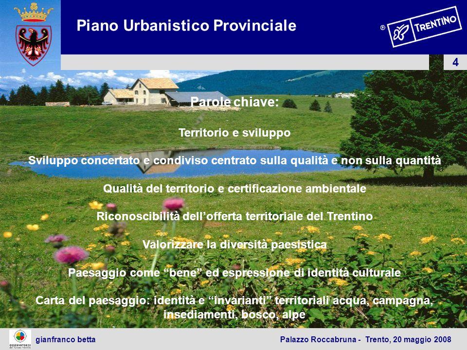 4 gianfranco betta Palazzo Roccabruna - Trento, 20 maggio 2008 Parole chiave: Territorio e sviluppo Sviluppo concertato e condiviso centrato sulla qua