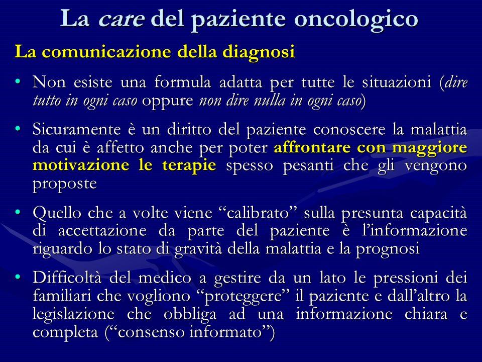 La comunicazione della diagnosi Non esiste una formula adatta per tutte le situazioni (dire tutto in ogni caso oppure non dire nulla in ogni caso)Non