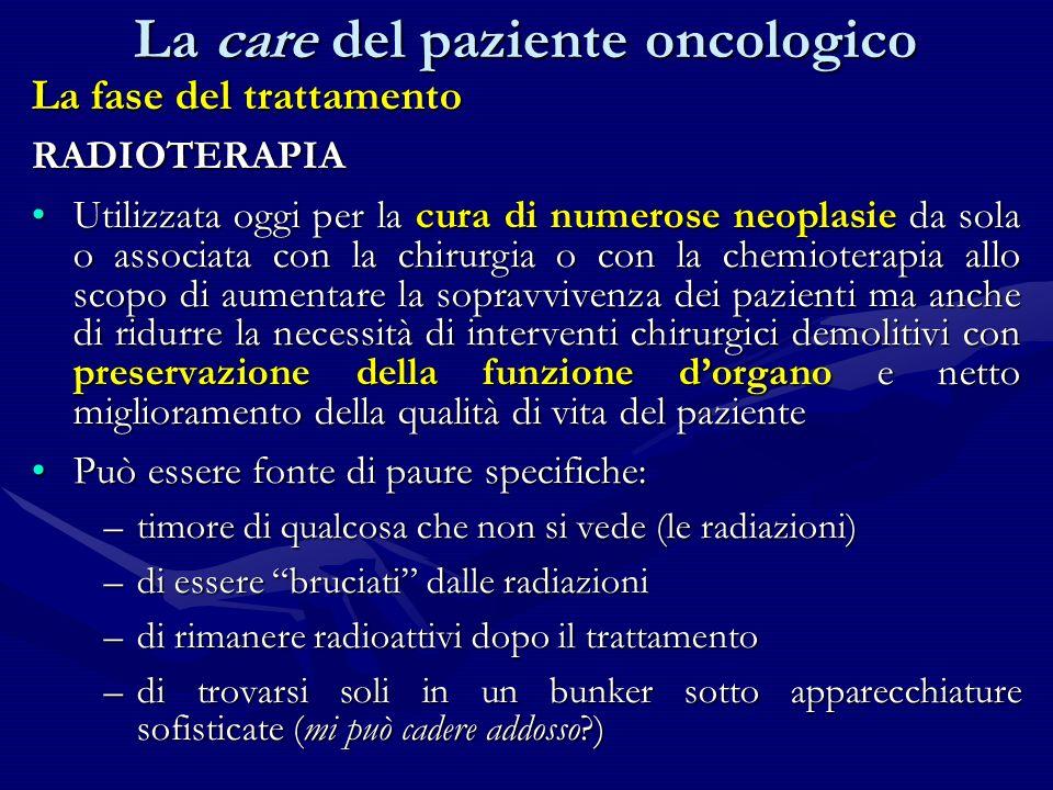 La fase del trattamento RADIOTERAPIA Utilizzata oggi per la cura di numerose neoplasie da sola o associata con la chirurgia o con la chemioterapia all