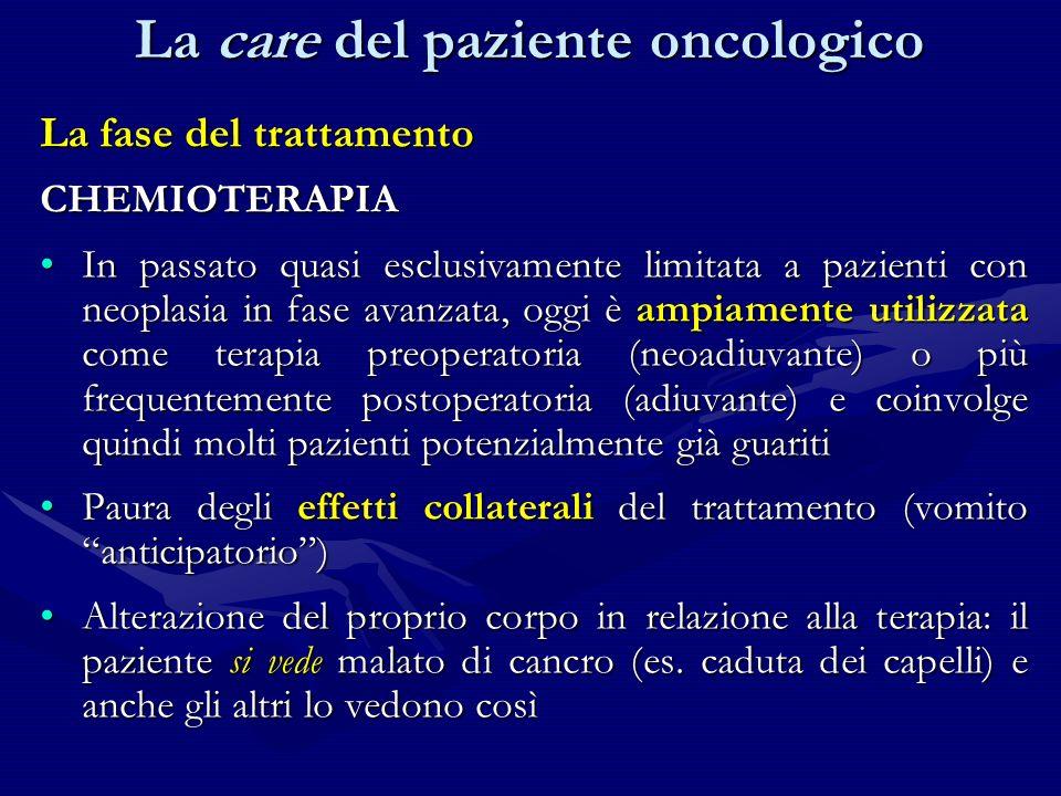 La fase del trattamento CHEMIOTERAPIA In passato quasi esclusivamente limitata a pazienti con neoplasia in fase avanzata, oggi è ampiamente utilizzata