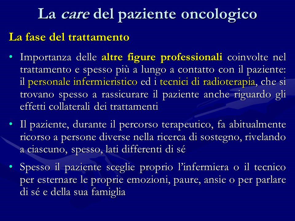 La fase del trattamento Importanza delle altre figure professionali coinvolte nel trattamento e spesso più a lungo a contatto con il paziente: il pers