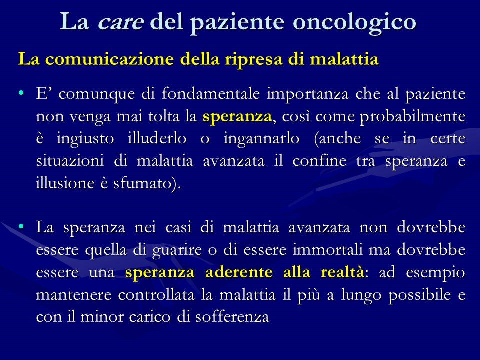 La comunicazione della ripresa di malattia E comunque di fondamentale importanza che al paziente non venga mai tolta la speranza, così come probabilme