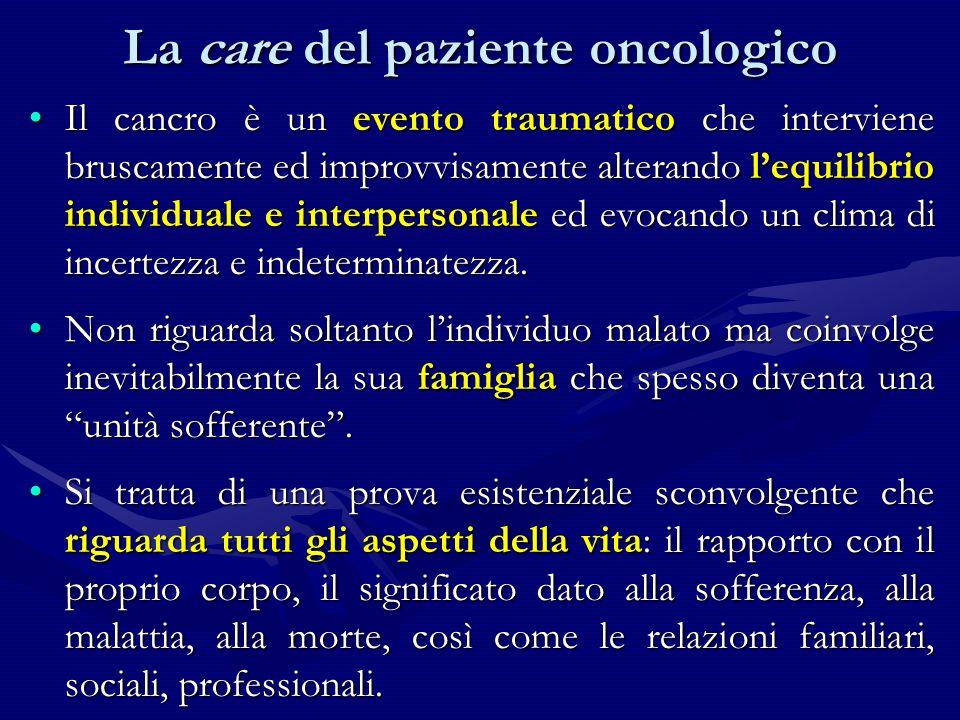 Il cancro è un evento traumatico che interviene bruscamente ed improvvisamente alterando lequilibrio individuale e interpersonale ed evocando un clima