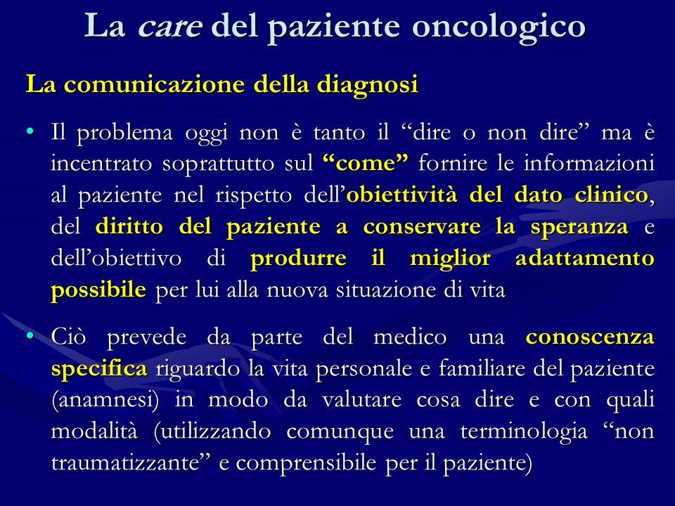 La comunicazione della diagnosi Il problema oggi non è tanto il dire o non dire ma è incentrato soprattutto sul come fornire le informazioni al pazien