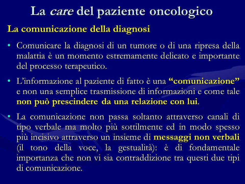 La comunicazione della diagnosi Comunicare la diagnosi di un tumore o di una ripresa della malattia è un momento estremamente delicato e importante de
