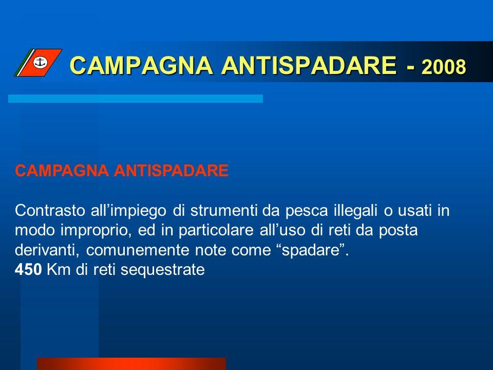 CAMPAGNA ANTISPADARE - 2008 CAMPAGNA ANTISPADARE Contrasto allimpiego di strumenti da pesca illegali o usati in modo improprio, ed in particolare allu