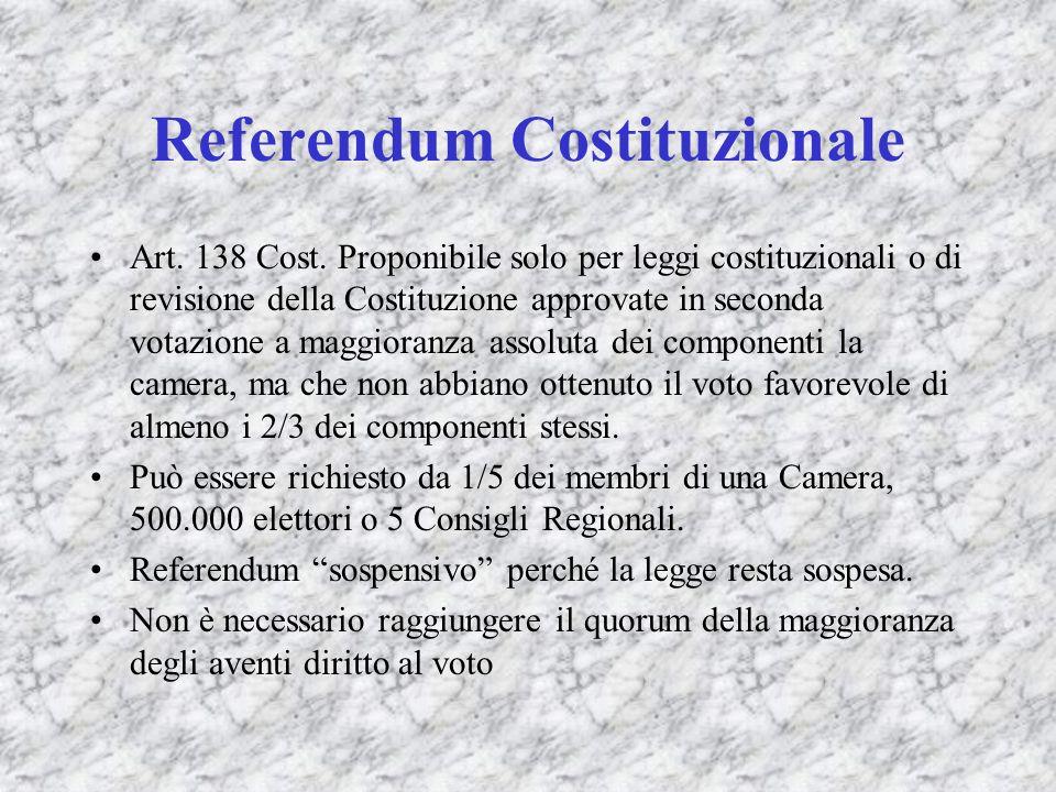 Referendum Costituzionale Art. 138 Cost. Proponibile solo per leggi costituzionali o di revisione della Costituzione approvate in seconda votazione a