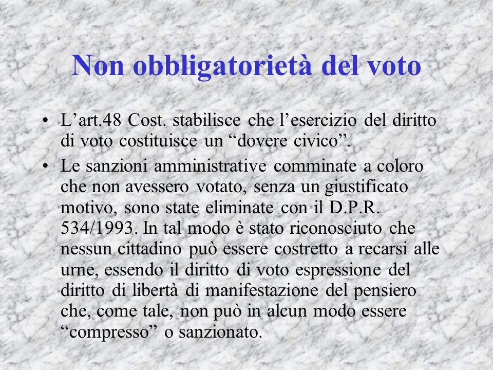 Non obbligatorietà del voto Lart.48 Cost. stabilisce che lesercizio del diritto di voto costituisce un dovere civico. Le sanzioni amministrative commi
