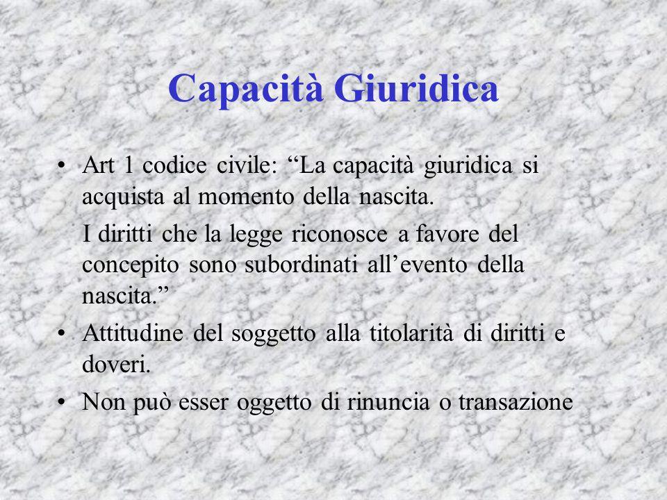 Eccezionale capacità del concepito e del concepturus Art.