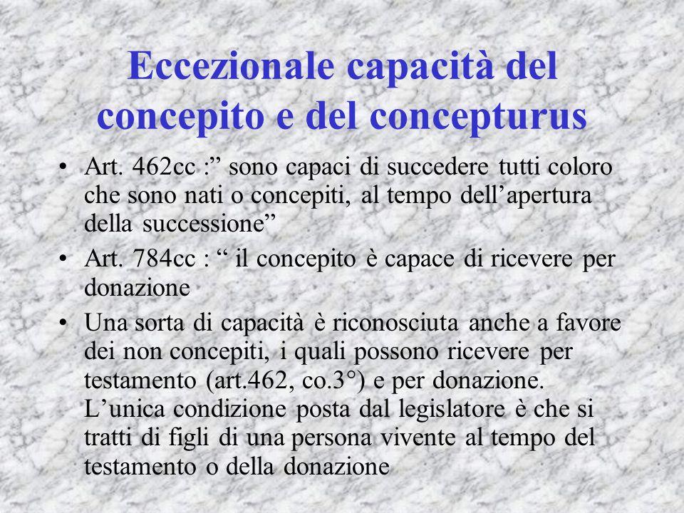 Eccezionale capacità del concepito e del concepturus Art. 462cc : sono capaci di succedere tutti coloro che sono nati o concepiti, al tempo dellapertu