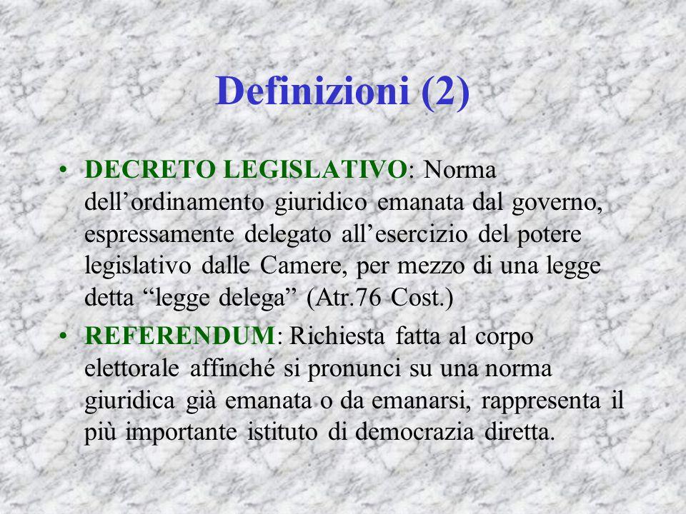 Definizioni (2) DECRETO LEGISLATIVO: Norma dellordinamento giuridico emanata dal governo, espressamente delegato allesercizio del potere legislativo d