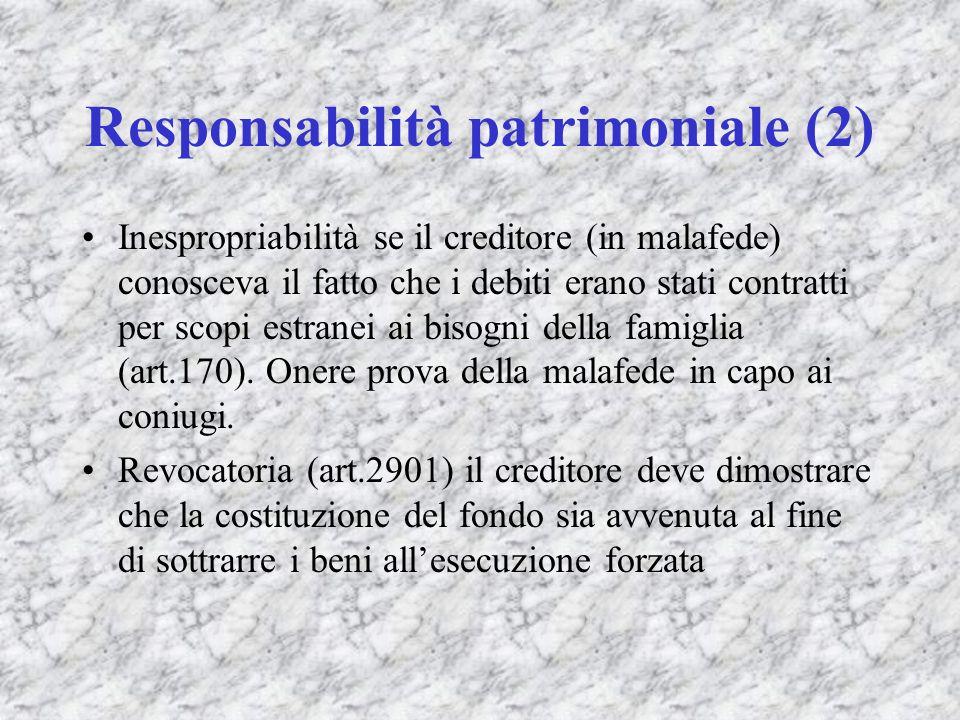 Responsabilità patrimoniale (2) Inespropriabilità se il creditore (in malafede) conosceva il fatto che i debiti erano stati contratti per scopi estran