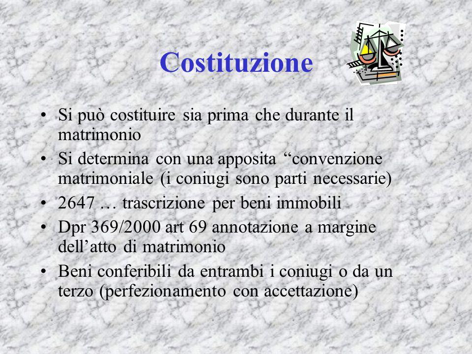 Costituzione Si può costituire sia prima che durante il matrimonio Si determina con una apposita convenzione matrimoniale (i coniugi sono parti necess