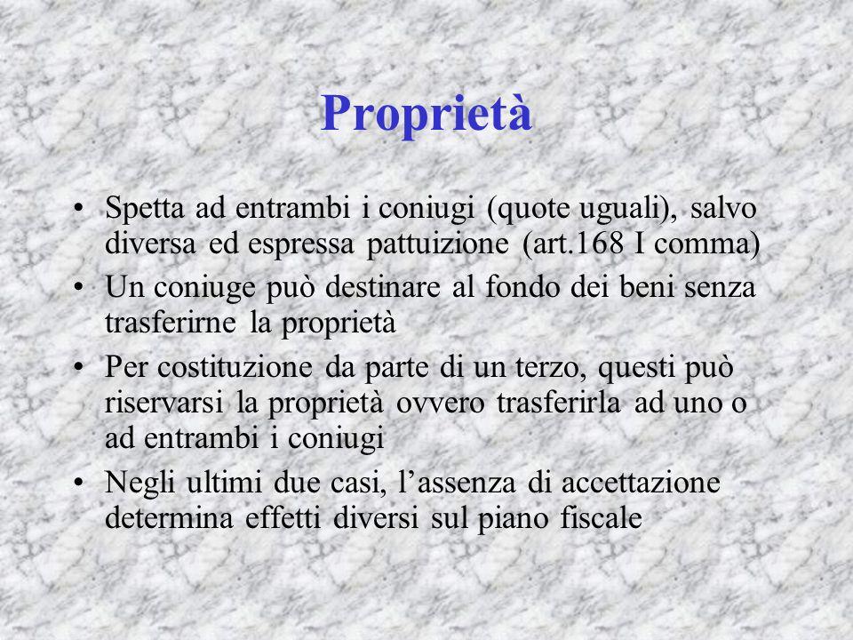 Proprietà Spetta ad entrambi i coniugi (quote uguali), salvo diversa ed espressa pattuizione (art.168 I comma) Un coniuge può destinare al fondo dei b