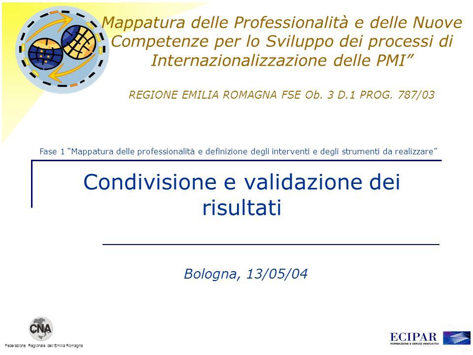 Federazione Regionale dellEmilia Romagna Mappatura delle Professionalità e delle Nuove Competenze per lo Sviluppo dei processi di Internazionalizzazione delle PMI REGIONE EMILIA ROMAGNA FSE Ob.