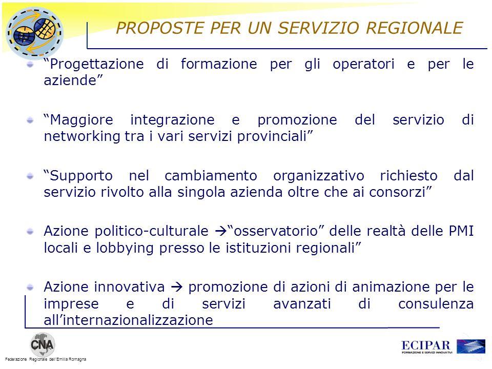 Federazione Regionale dellEmilia Romagna PROPOSTE PER UN SERVIZIO REGIONALE Progettazione di formazione per gli operatori e per le aziende Maggiore in