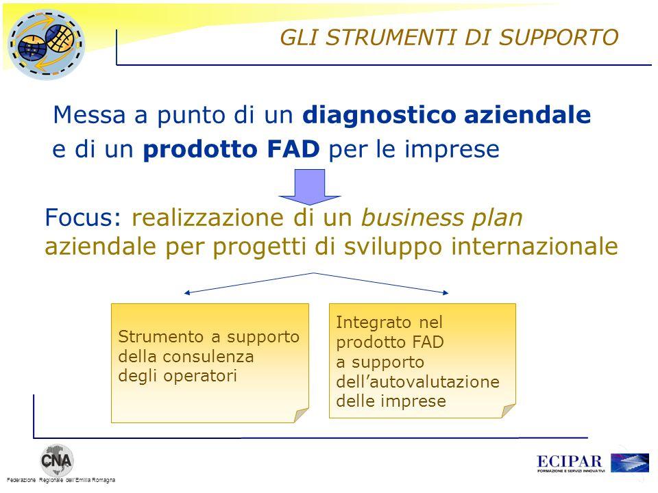 Federazione Regionale dellEmilia Romagna GLI STRUMENTI DI SUPPORTO Messa a punto di un diagnostico aziendale e di un prodotto FAD per le imprese Focus
