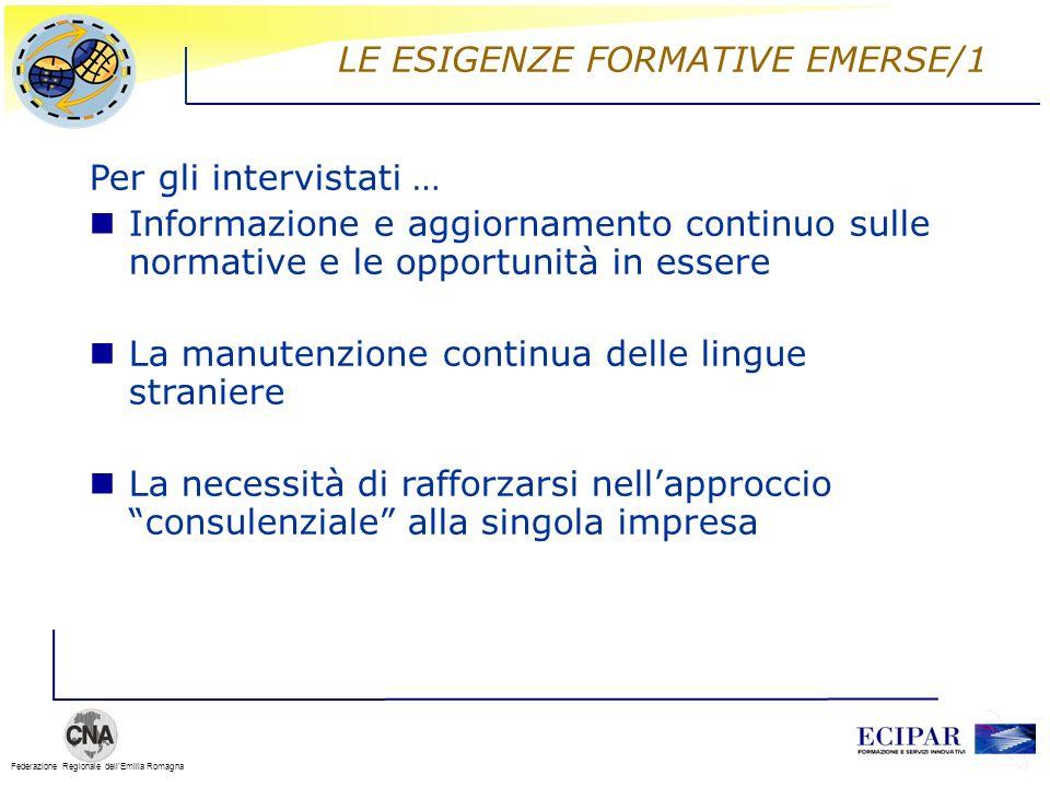 Federazione Regionale dellEmilia Romagna LE ESIGENZE FORMATIVE EMERSE/1 Per gli intervistati … Informazione e aggiornamento continuo sulle normative e