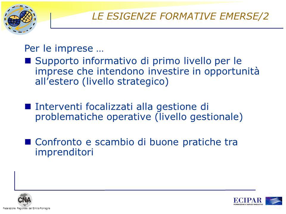 Federazione Regionale dellEmilia Romagna LE ESIGENZE FORMATIVE EMERSE/2 Per le imprese … Supporto informativo di primo livello per le imprese che inte