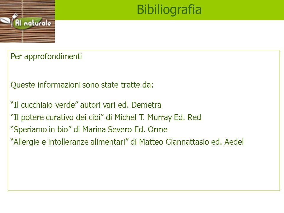 Libri Bibiliografia Per approfondimenti Queste informazioni sono state tratte da: Il cucchiaio verde autori vari ed. Demetra Il potere curativo dei ci